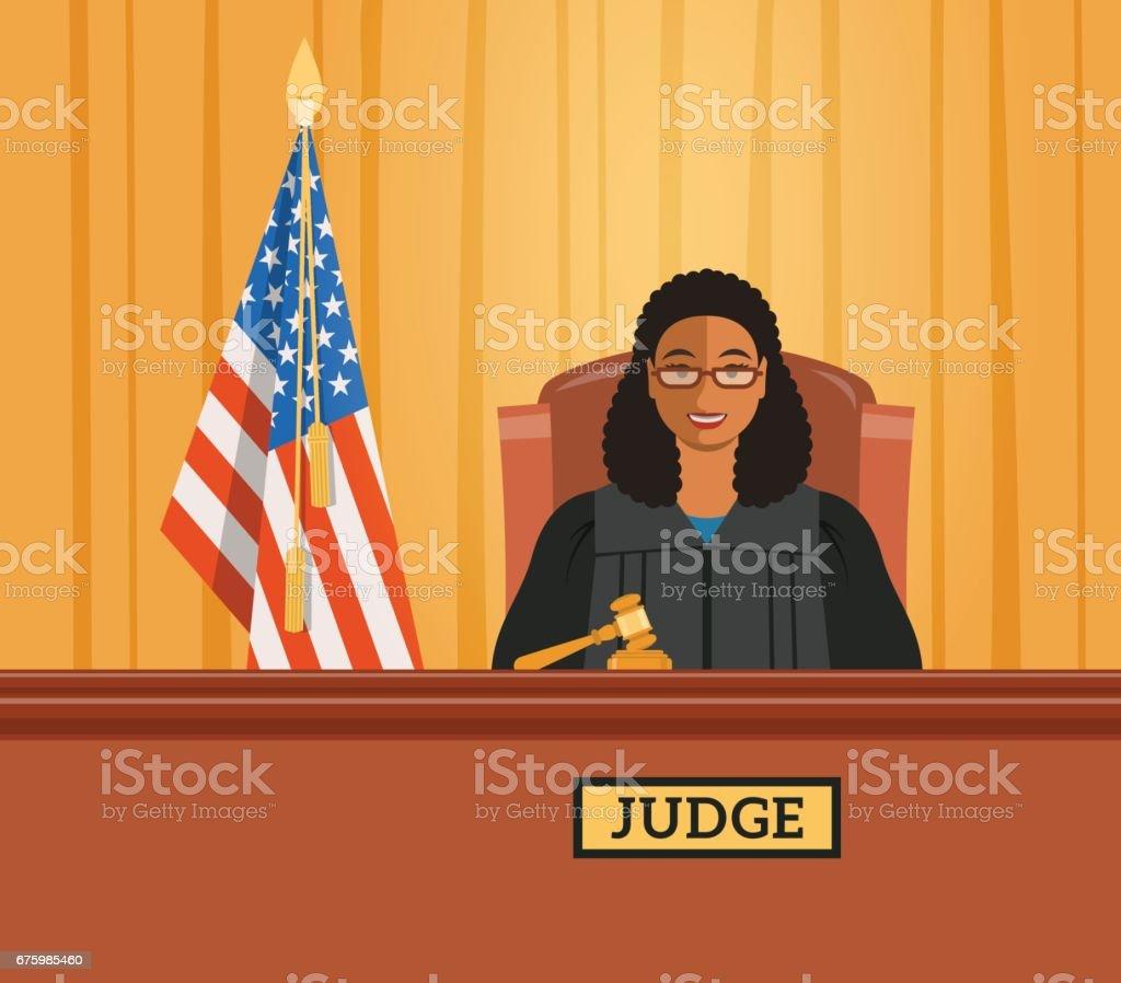 Judge black woman in courtroom vector flat illustration vector art illustration