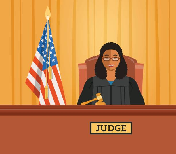 Judge black woman in courtroom vector flat illustration Judge black woman in courtroom at tribunal with gavel and american flag. Judicial cartoon background. Civil and criminal cases public trial. Vector flat illustration. supreme court stock illustrations