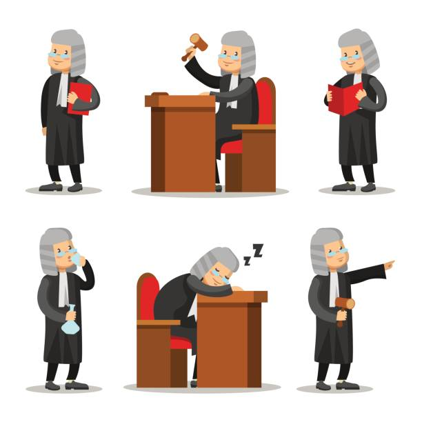 Judge Cartoon Character Set. Law and Justice. Vector illustration Judge Cartoon Character Set. Law and Justice. Vector illustration supreme court stock illustrations