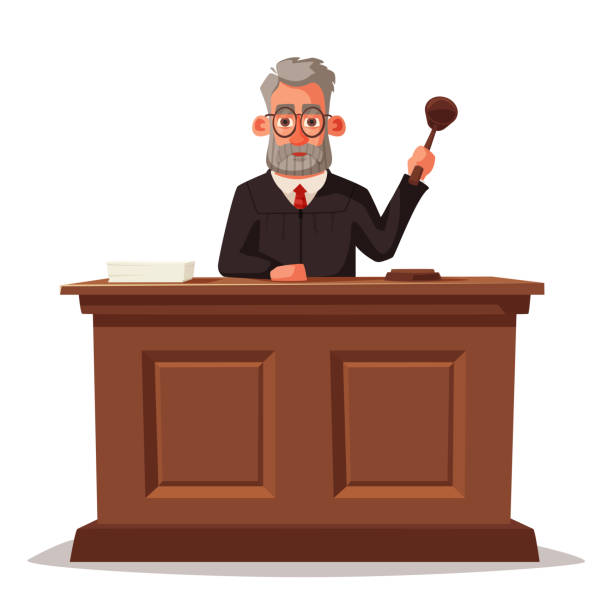 Judge character with hammer. Cartoon vector illustration Judge character with hammer. Cartoon vector illustration. Juistice concept.Law judicial legal proceedings in courthouse judge law stock illustrations