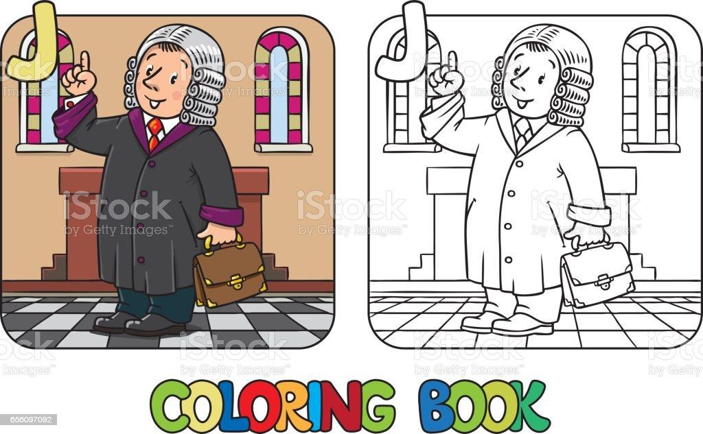 Ilustración de Libro De Colorear De Juez Profesión De Alfabeto J Abc ...