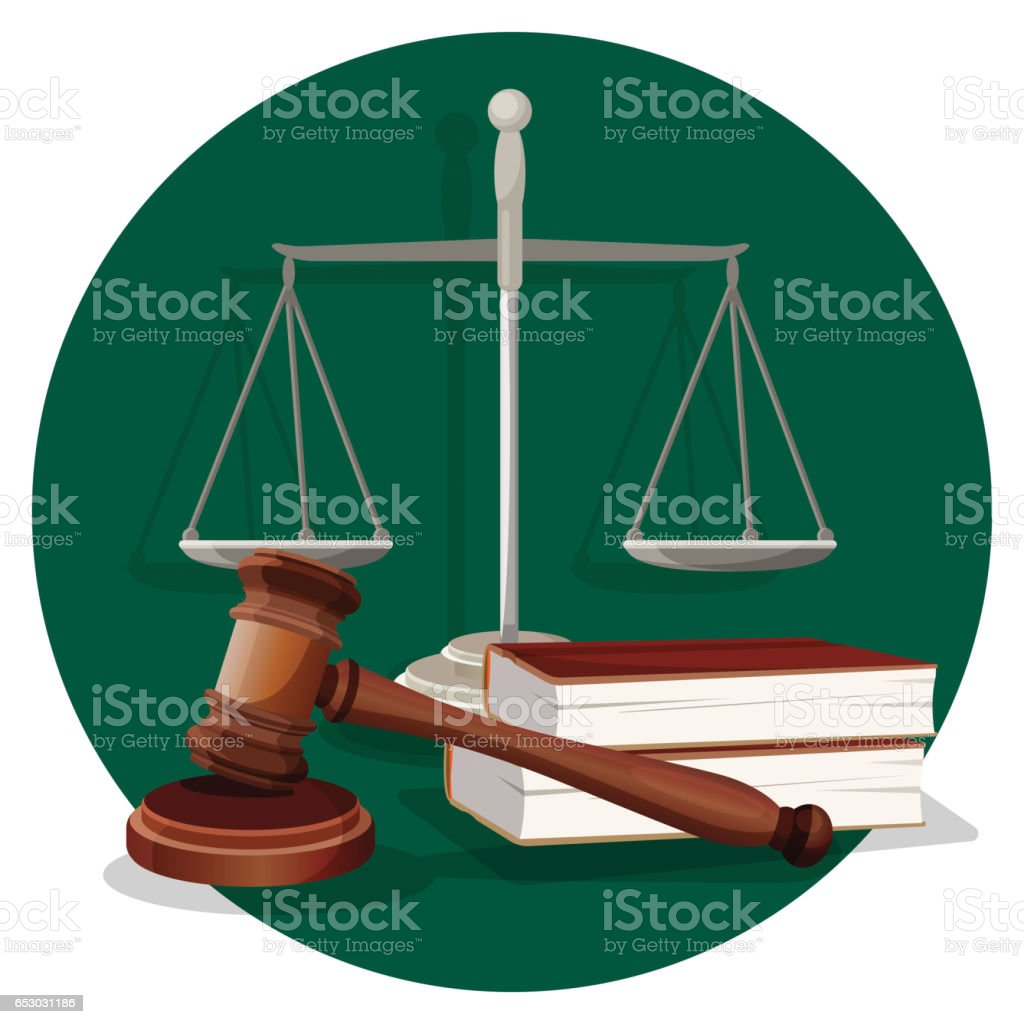 Judge gavel and grey scale with two book on green vector art illustration