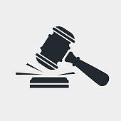 istock Judge gavel black icon 1160951881