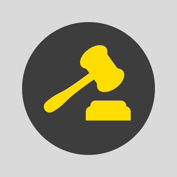 Judge gavel icon on gray background. vector art illustration