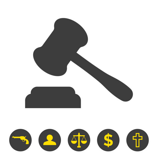 Judge gavel icon on white background. vector art illustration