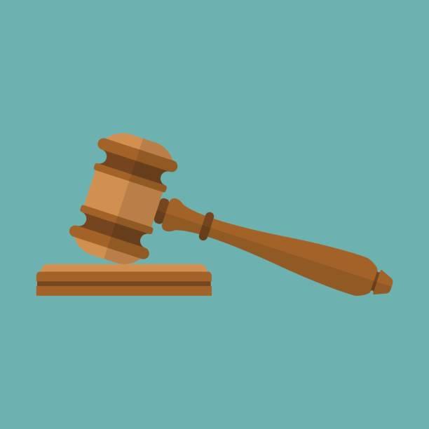 Judge gavel icon Judge gavel icon. Auction hammer. Isolated on background. Vector illustration of a flat design. Symbol law. gavel stock illustrations