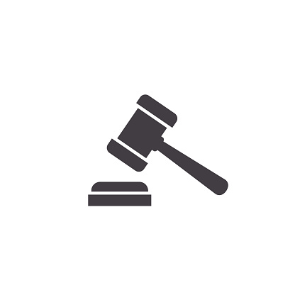 Judge gavel Icon, Vector Simple illustration isolated on white background.