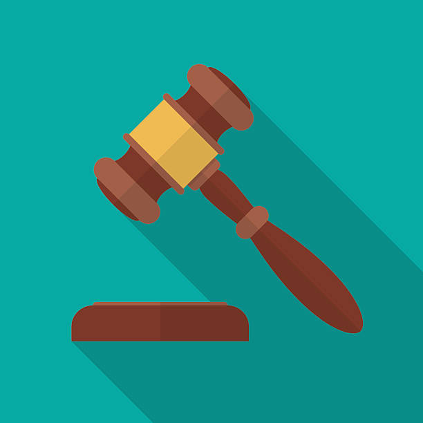 Judge gavel or auction hammer icon with long shadow. Judge gavel or auction hammer icon with long shadow. Flat design style. Judge hammer silhouette. Simple icon. Modern flat icon in stylish colors. Web site page and mobile app design vector element. gavel stock illustrations