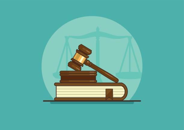 judge gavel judge gavel on book with scales, flat vector illustration gavel stock illustrations