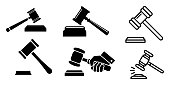 istock Judge Hammer icon vector illustration on background 1182495449