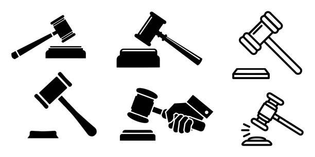 Judge Hammer icon vector illustration on background Judge Hammer icon vector illustration on background punishment stock illustrations