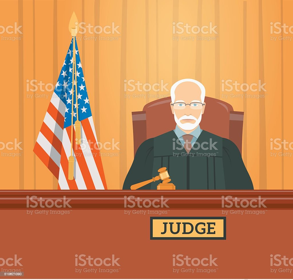 Judge in courthouse flat illustration vector art illustration