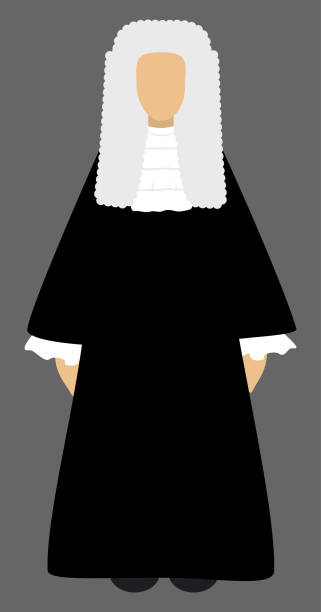 Judge. Isolated vector illustration on gray background. Judge in black robe costume and wig. Isolated vector illustration on gray background. Flat style. The Lord Chief Justice chief justice stock illustrations