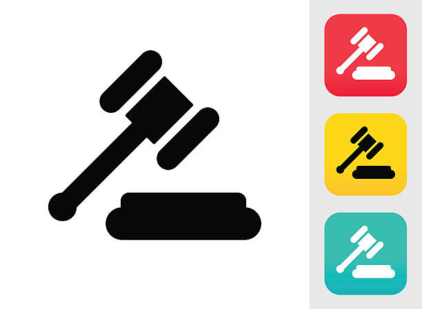 Judge or Auction Hammer Icon Judge or Auction Hammer Icon judge law stock illustrations