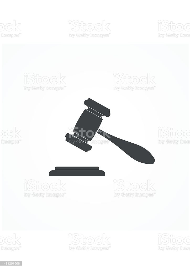 Vector Illustration Hammer: Judge Or Auction Hammer Icon Vector Illustration Stock
