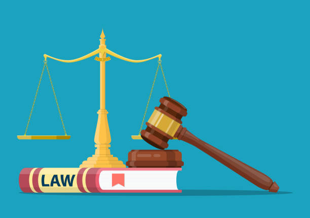 Judge wooden gavel Judge wooden gavel with law book and golden scales. Justice concept. Legal law and auction symbol. Vector illustration in flat design judge law stock illustrations