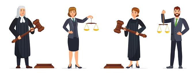 Judges and lawyers. Judge holding hammer and lawyer with scales of justice. Judicial workers, law cartoon vector illustration set