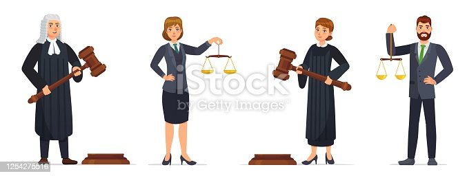 istock Judges and lawyers. Judge holding hammer and lawyer with scales of justice. Judicial workers, law cartoon vector illustration set 1254275516