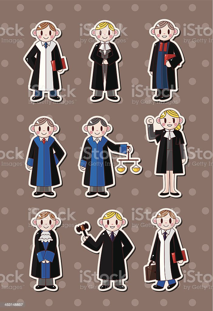 Judges and lawyers stickers vector art illustration