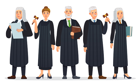 Judges team. Law judge in black robe costume, court people and justice workers vector cartoon illustration