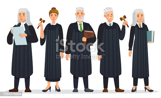 istock Judges team. Law judge in black robe costume, court people and justice workers vector cartoon illustration 1254275503