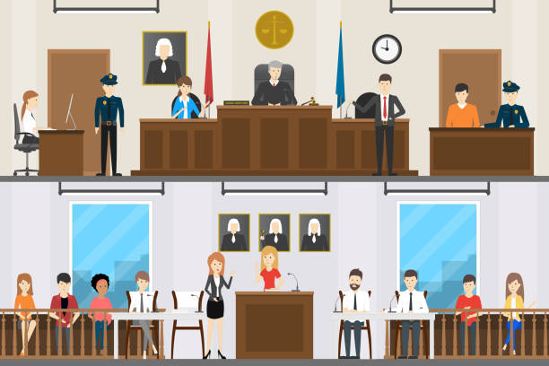 Judical court interior set. Judical court interior set. Witnesses with guilty people, lawer and judge. judge law stock illustrations