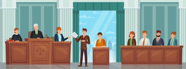 yargı süreci. hakimler, avukat ve jüri ile mahkeme veya mahkemede kamu duruşması ve ceza prosedürü. mahkeme salonu iç vektör kavramı - supreme court stock illustrations