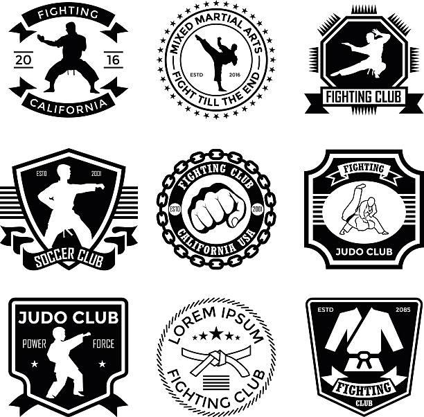 Judo Badges vector art illustration