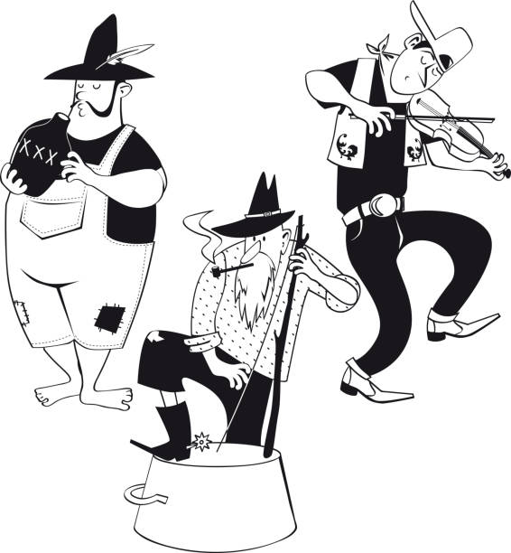 jug band clip-art - clip art of a black and white barn stock illustrations, clip art, cartoons, & icons