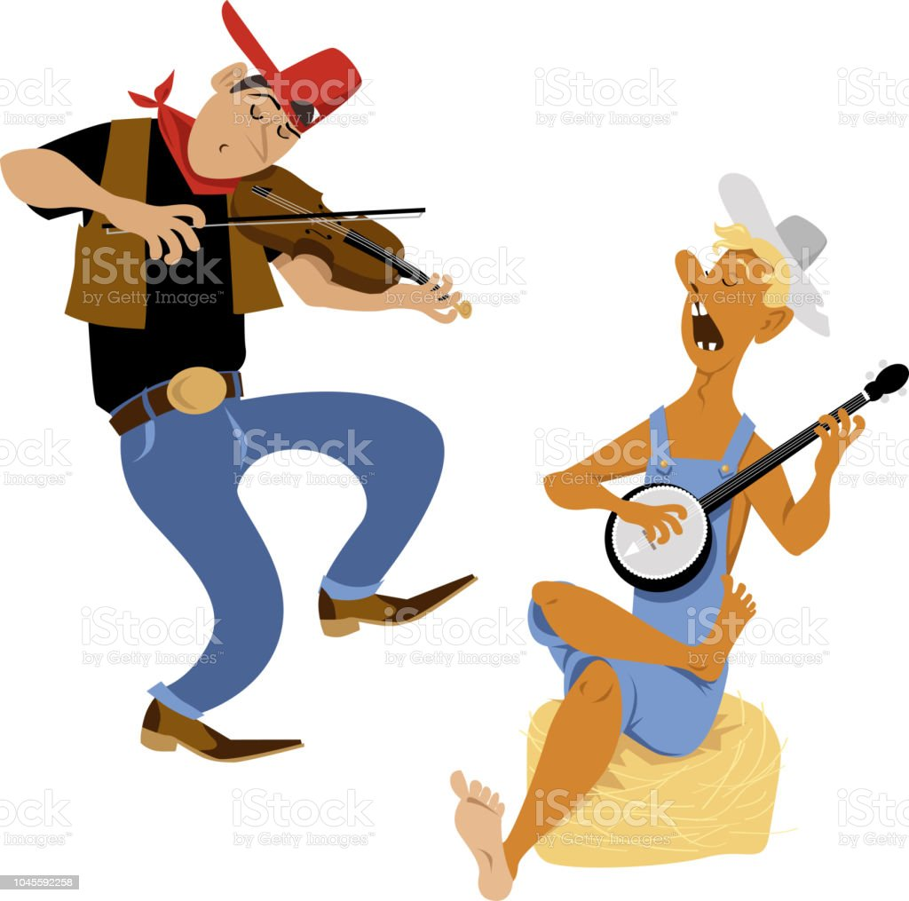 Jug band players vector art illustration