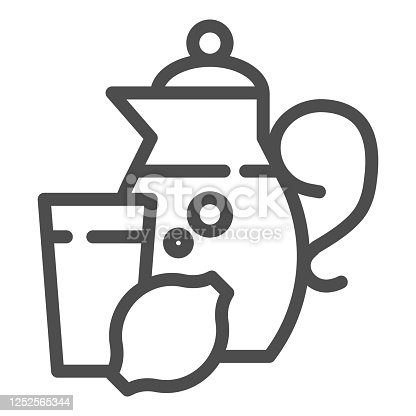 istock Jug of juice, glass and lemon line icon, summer time concept, Lemonade sign on white background, Glass Jug with citrus juice icon in outline style for mobile and web design. Vector graphics. 1252565344