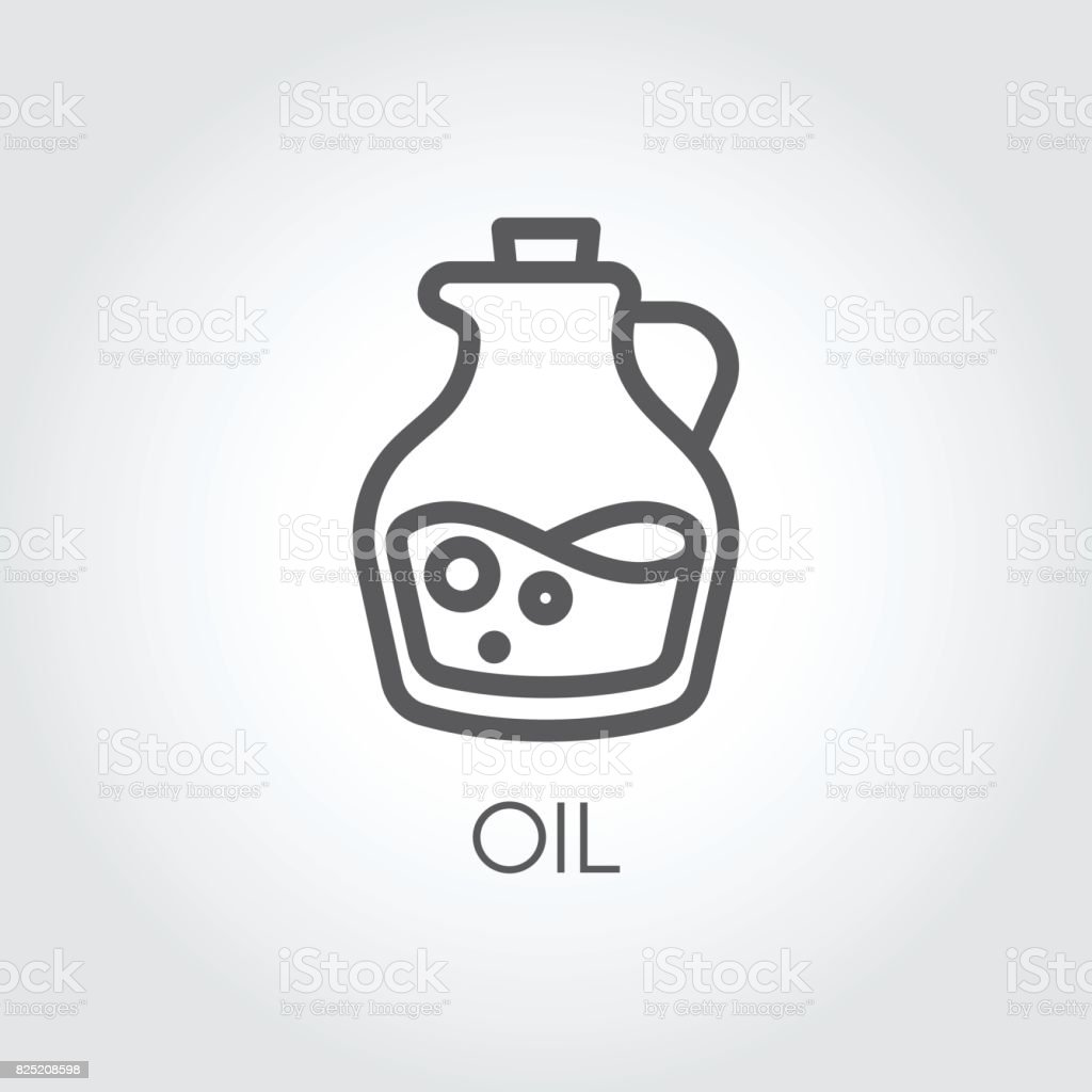 Jug with oil icon. Food symbol in thin line style. Culinary concept. Vector outline illustration vector art illustration
