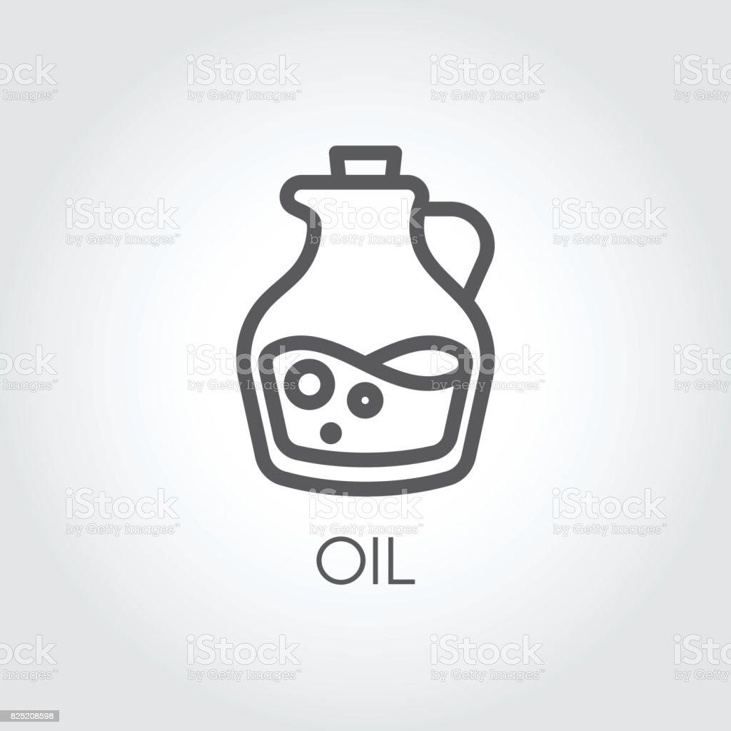 Jug with oil icon. Food symbol in thin line style. Culinary concept. Vector outline illustration - ilustração de arte vetorial