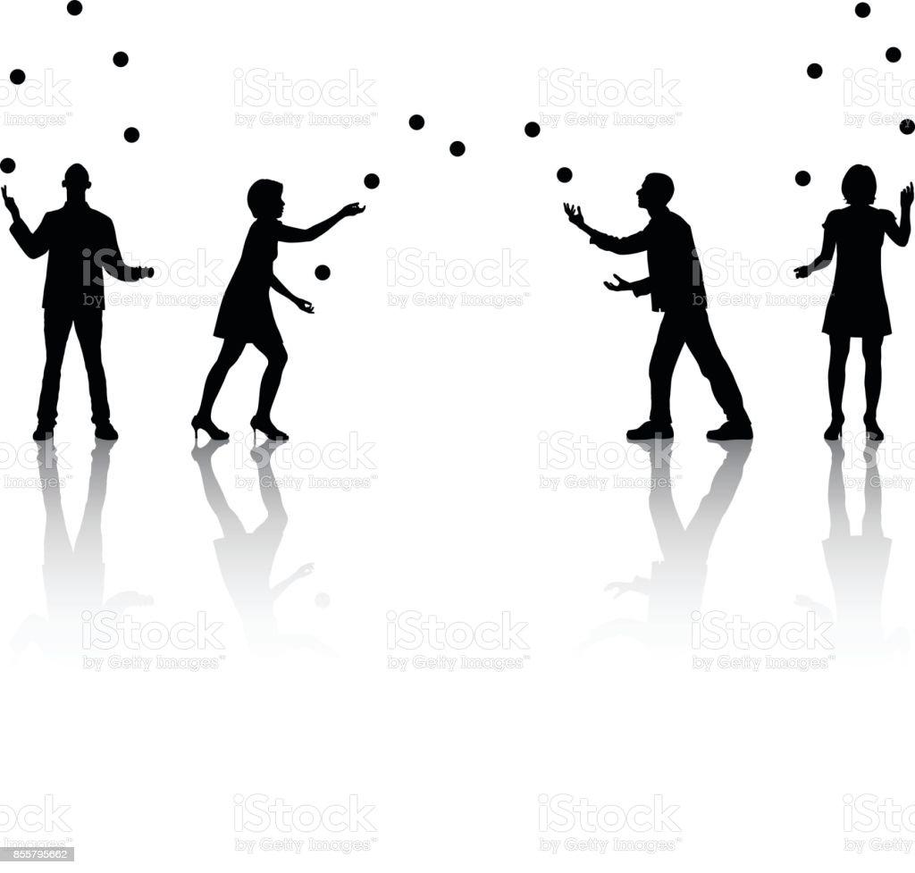 Jugglers vector art illustration
