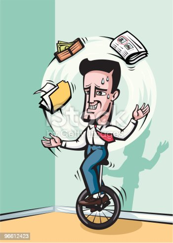 Vector illustration of a business man on a unicycle juggling work, finances, economy, real estate, news...