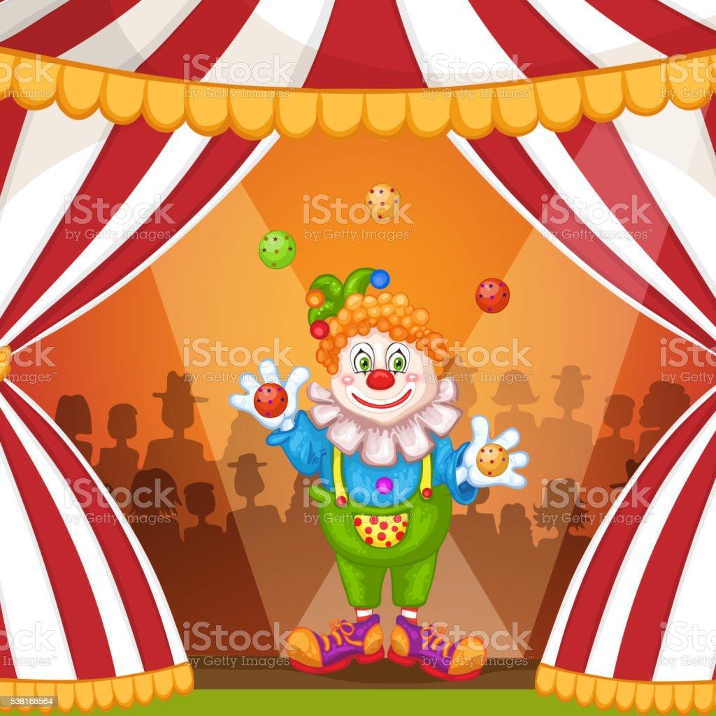 Clown De Dessin Anime Jongleur De Chapiteau De Cirque Vecteurs
