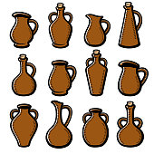 Collection jugs set, edit size and color, vector