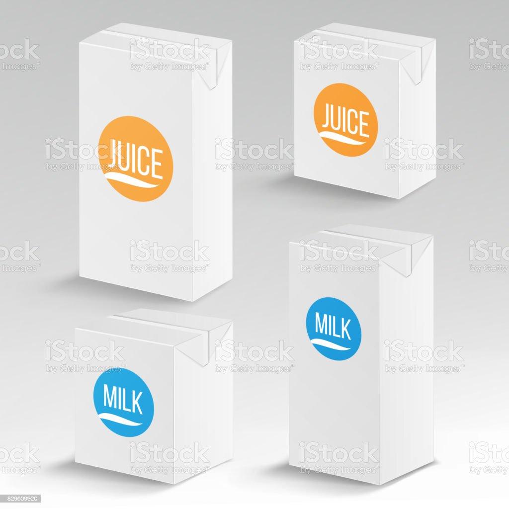 Saft Und Milch Paket Vektor Realistische Mockup Vorlage ...