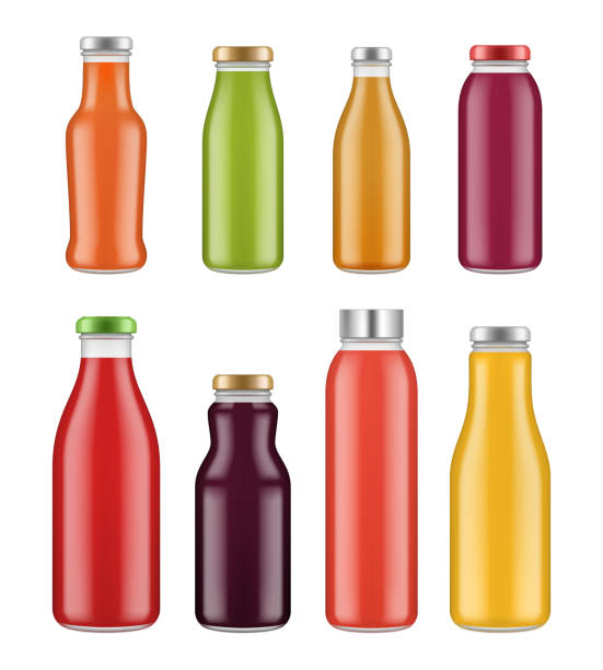 Juice bottles. Transparent jar and packages for colored liquid food and drinks vector mockup Juice bottles. Transparent jar and packages for colored liquid food and drinks vector mockup. Bottle with colored juice, drink beverage illustration bottle stock illustrations
