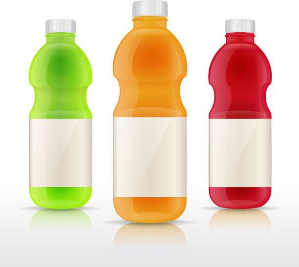 illustrazioni stock, clip art, cartoni animati e icone di tendenza di bottiglie di succo di frutta - fruit juice bottle isolated