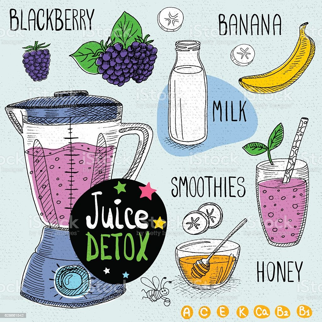 Juice detox set. vector art illustration