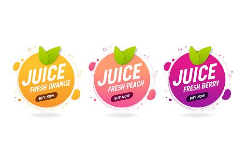 Juice fresh fruit banner. Orange, berry, peach healthy juice design template.