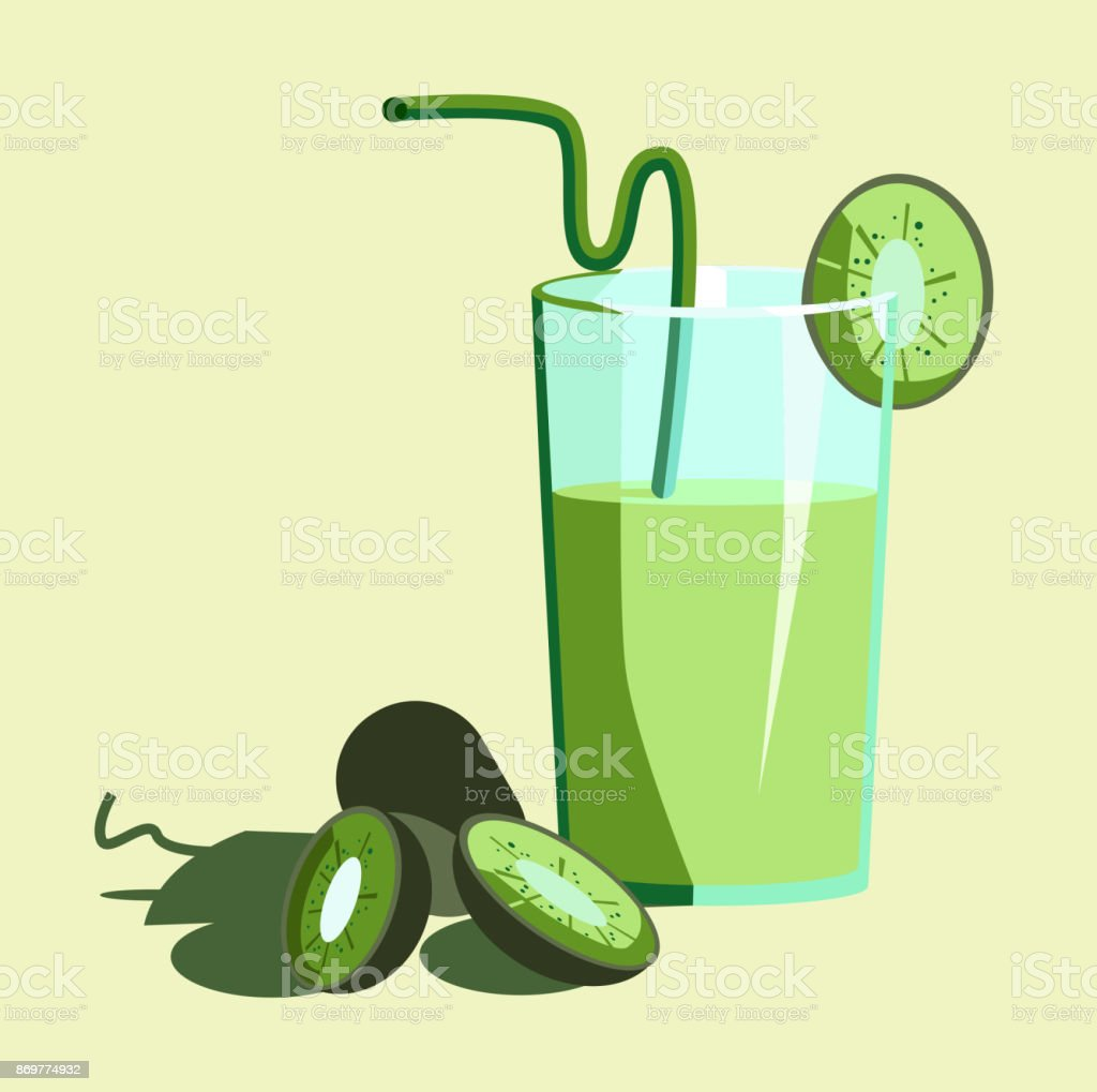 Juice from kiwi with a glass with and a few slices. vector art illustration