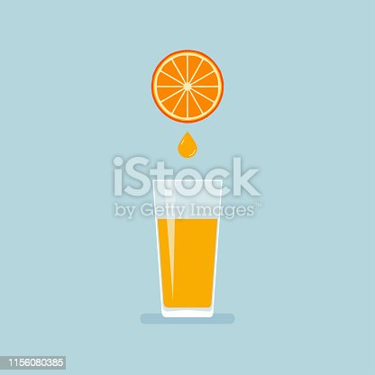 Juicy orange pouring into glass symbol in flat style. Vector illustration isolated on blue background