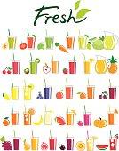 A collection of vector design elements. The set contains illustrations of juice of avocado, tomato, broccoli, carrot, lime, cucumber, cabbage, lettuce, cherries, kiwi, apple, strawberry, pineapple, lemon, blueberry, peach, apricot, plum, orange, banana, mango, raspberry, pumpkin, grape, pomegranate, blackberry, melon and watermelon.