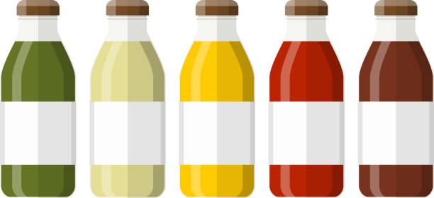 illustrazioni stock, clip art, cartoni animati e icone di tendenza di juice in a glass bottle - fruit juice bottle isolated