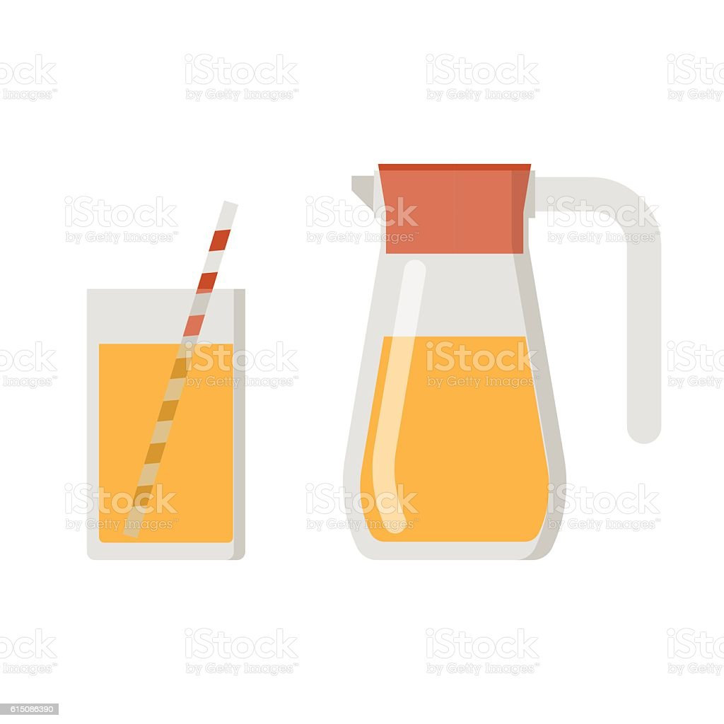 Juice Jug and Mug vector art illustration
