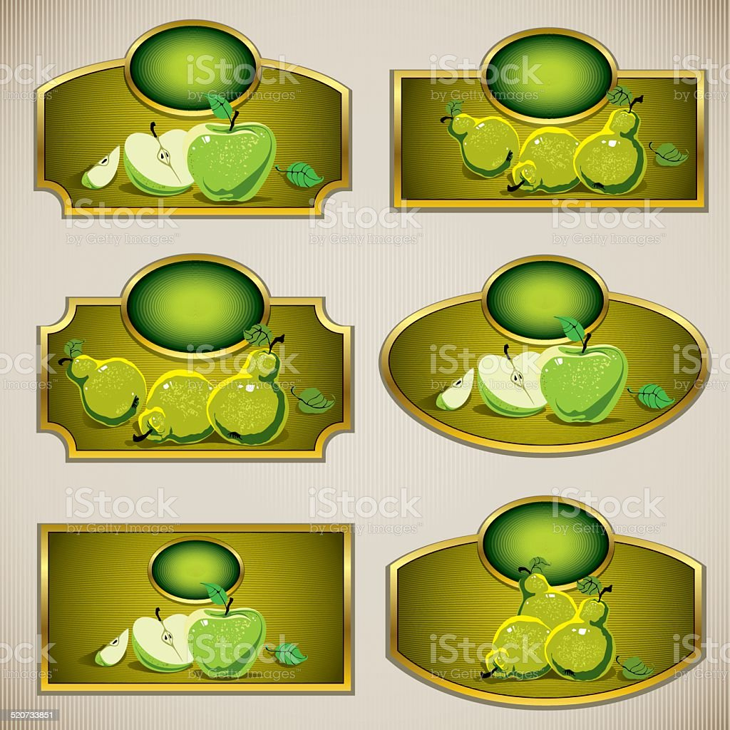 Juice Labels With Apples And Pears Illustrations Stock