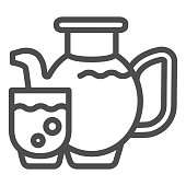 Juice line icon. Glass of juice vector illustration isolated on white. Juice jug outline style design, designed for web and app. Eps 10