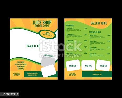Juice menu for restaurant and cafe, Template design banners, brochures, menus, flyers